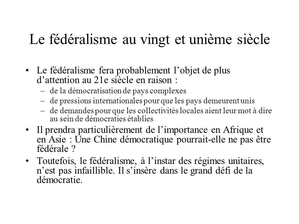 Le fédéralisme au vingt et unième siècle Le fédéralisme fera probablement lobjet de plus dattention au 21e siècle en raison : –de la démocratisation d