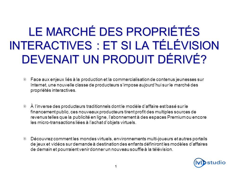 1 LE MARCHÉ DES PROPRIÉTÉS INTERACTIVES : ET SI LA TÉLÉVISION DEVENAIT UN PRODUIT DÉRIVÉ? Face aux enjeux liés à la production et la commercialisation