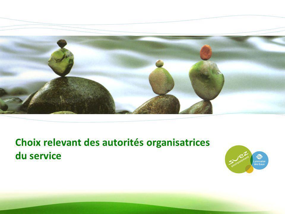 ADCF, Commissions Environnement et Finances, 12 avril 2012 14 Choix relevant des autorités organisatrices du service