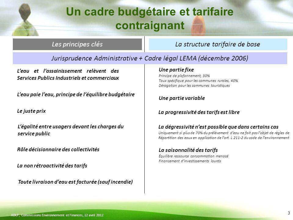 ADCF, Commissions Environnement et Finances, 12 avril 2012 3 Les principes clésLa structure tarifaire de base Jurisprudence Administrative + Cadre lég