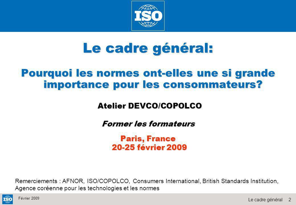 2Le cadre général Février 2009 Le cadre général: Pourquoi les normes ont-elles une si grande importance pour les consommateurs? Atelier DEVCO/COPOLCO