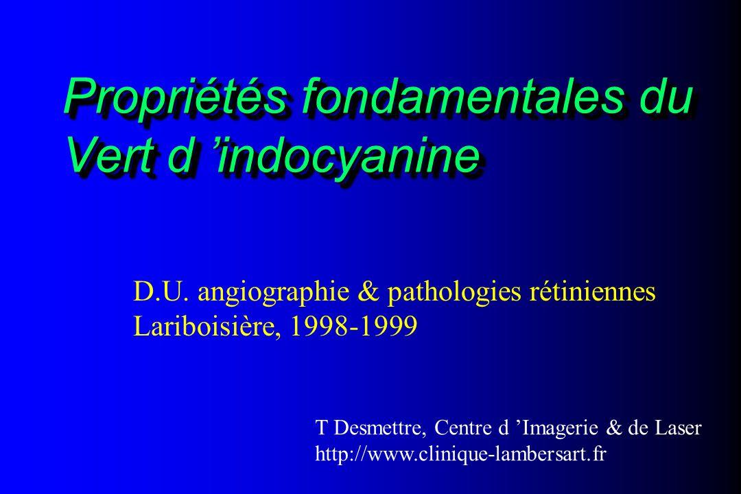 Propriétés fondamentales du Vert d indocyanine D.U. angiographie & pathologies rétiniennes Lariboisière, 1998-1999 T Desmettre, Centre d Imagerie & de