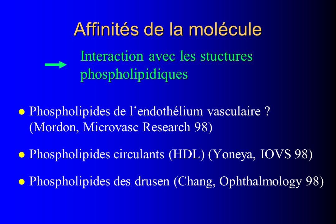 Affinités de la molécule l Phospholipides de lendothélium vasculaire ? (Mordon, Microvasc Research 98) l Phospholipides circulants (HDL) (Yoneya, IOVS