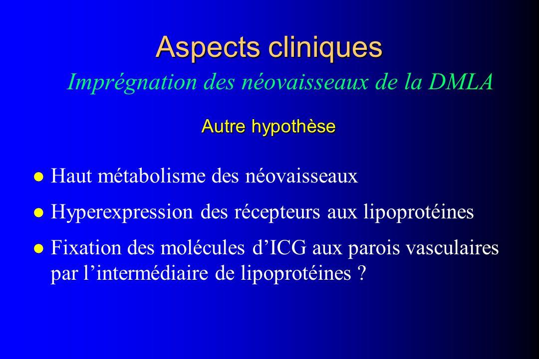 l Haut métabolisme des néovaisseaux l Hyperexpression des récepteurs aux lipoprotéines l Fixation des molécules dICG aux parois vasculaires par linter