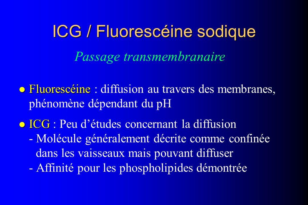 l Fluorescéine l Fluorescéine : diffusion au travers des membranes, phénomène dépendant du pH l ICG l ICG : Peu détudes concernant la diffusion - Molé