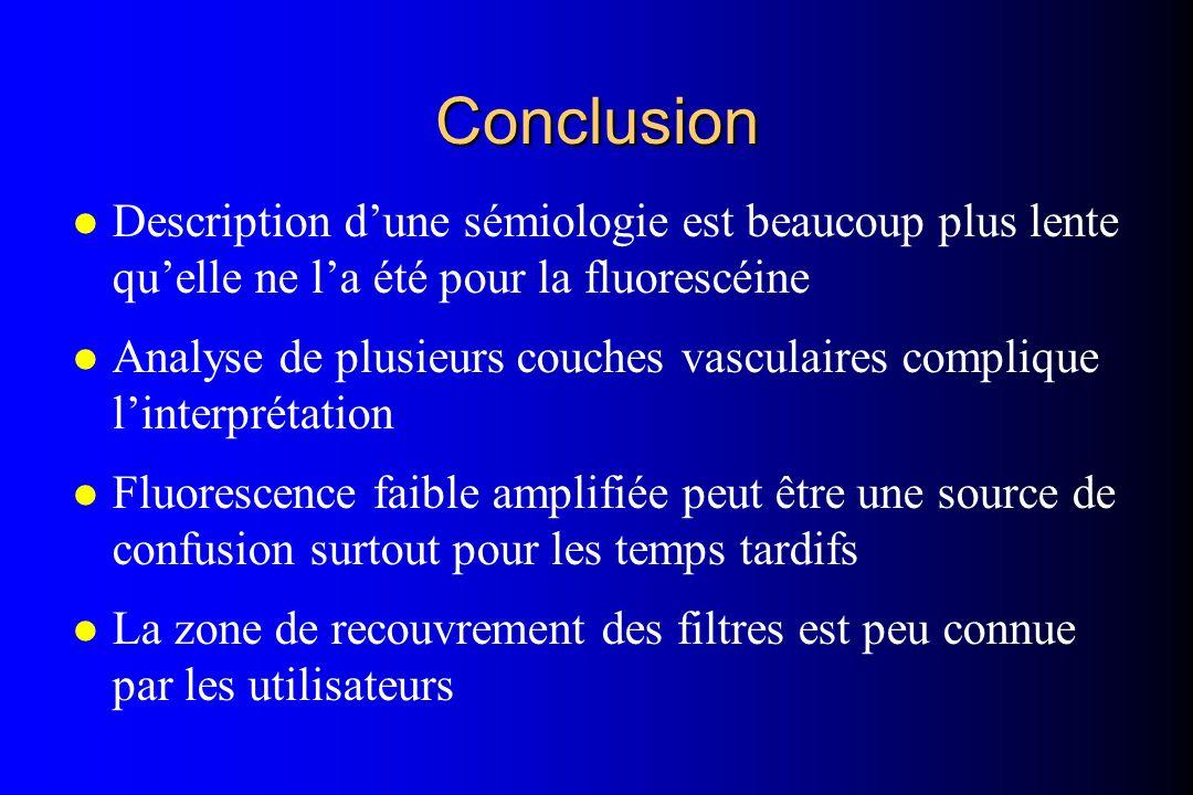 l Description dune sémiologie est beaucoup plus lente quelle ne la été pour la fluorescéine l Analyse de plusieurs couches vasculaires complique linte