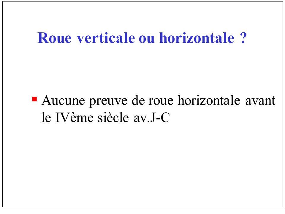 Roue verticale ou horizontale ? Aucune preuve de roue horizontale avant le IVème siècle av.J-C