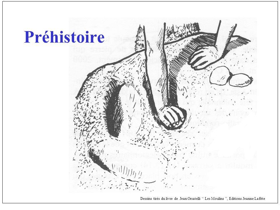 Préhistoire Dessins tirés du livre de Jean Orsatelli Les Moulins, Editions Jeanne Lafitte