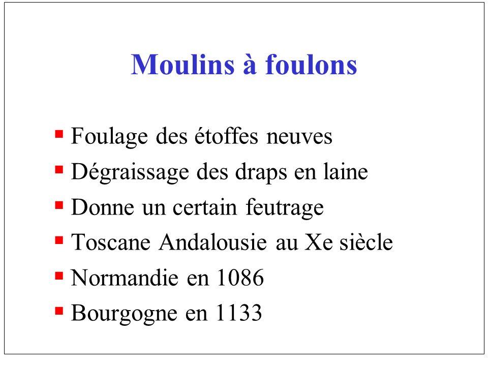 Moulins à foulons Foulage des étoffes neuves Dégraissage des draps en laine Donne un certain feutrage Toscane Andalousie au Xe siècle Normandie en 108