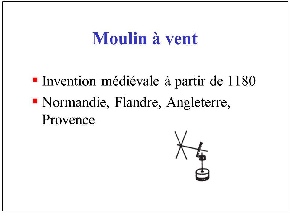 Moulin à vent Invention médiévale à partir de 1180 Normandie, Flandre, Angleterre, Provence