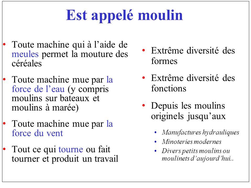 Est appelé moulin Toute machine qui à laide de meules permet la mouture des céréales Toute machine mue par la force de leau (y compris moulins sur bat