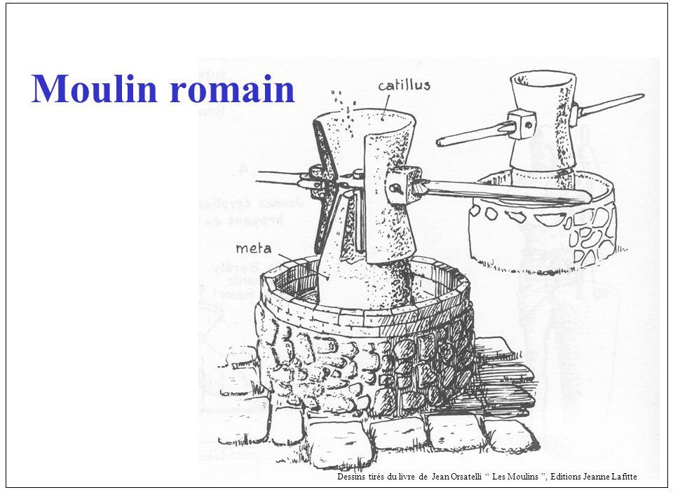 Moulin romain Dessins tirés du livre de Jean Orsatelli Les Moulins, Editions Jeanne Lafitte