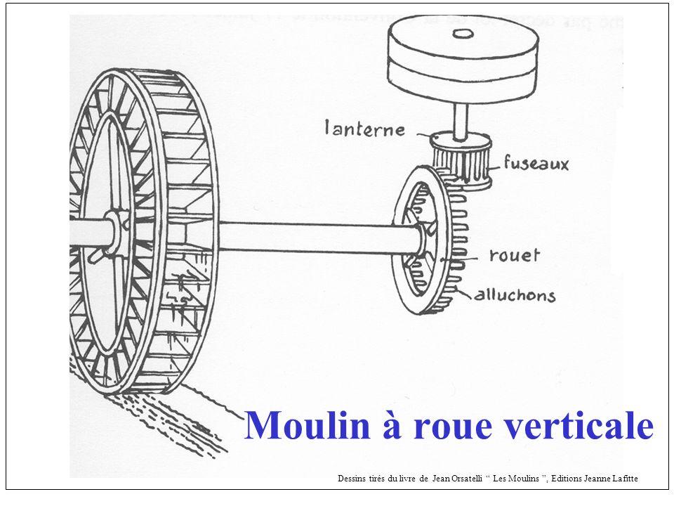 Roue à pales Dessins tirés du livre de Jean Orsatelli Les Moulins, Editions Jeanne Lafitte