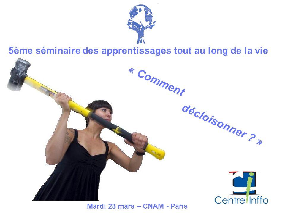 5ème séminaire des apprentissages tout au long de la vie « Comment décloisonner ? » Mardi 28 mars – CNAM - Paris