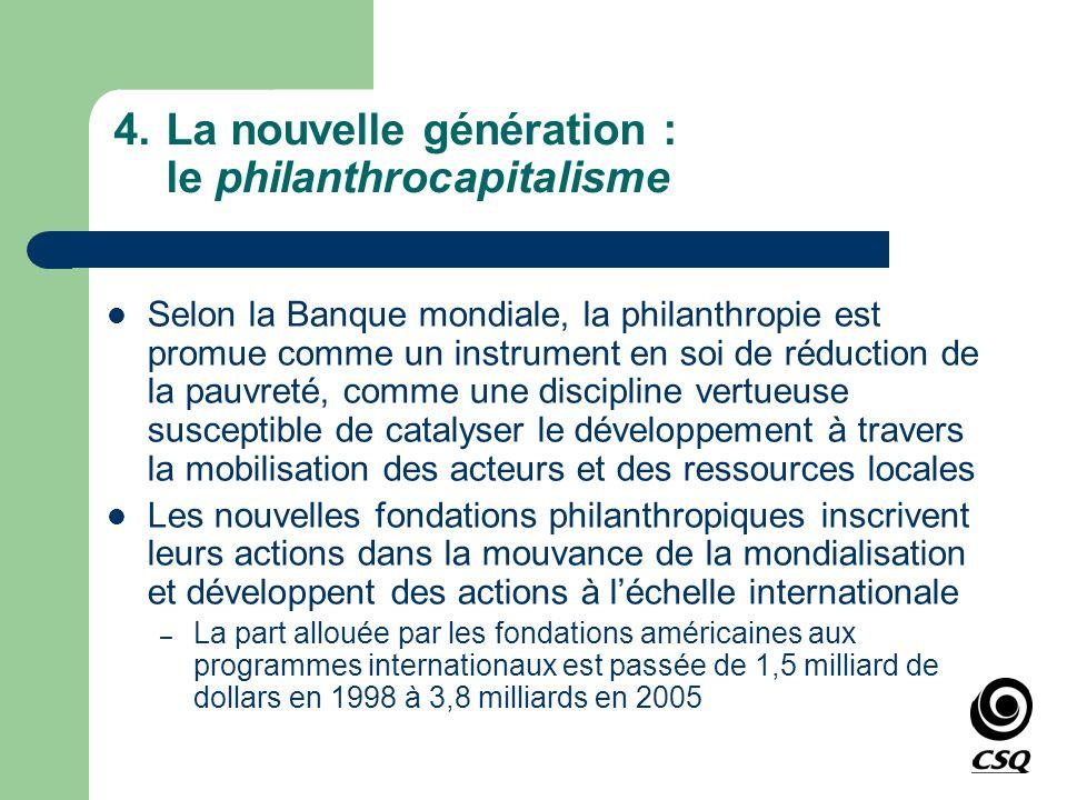 4.La nouvelle génération : le philanthrocapitalisme Selon la Banque mondiale, la philanthropie est promue comme un instrument en soi de réduction de l
