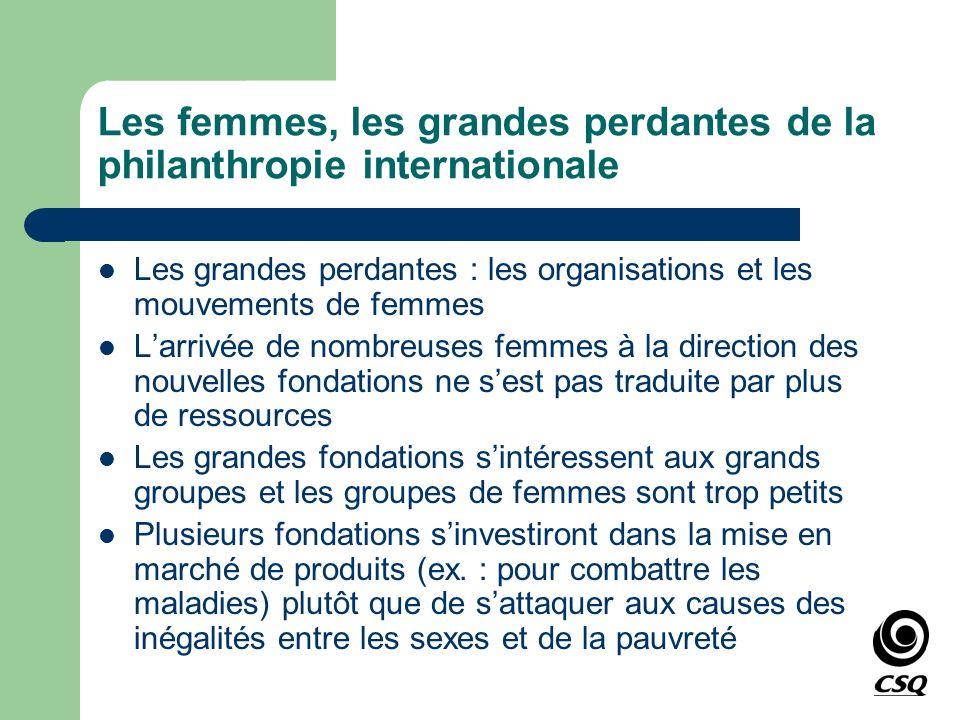 Les femmes, les grandes perdantes de la philanthropie internationale Les grandes perdantes : les organisations et les mouvements de femmes Larrivée de