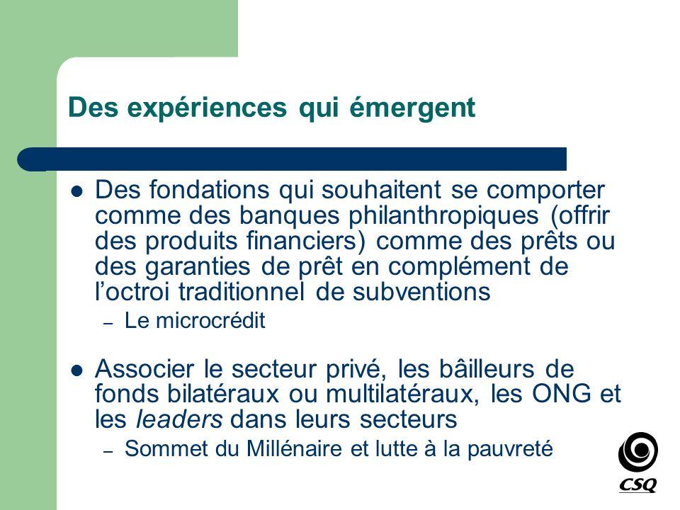 Des expériences qui émergent Des fondations qui souhaitent se comporter comme des banques philanthropiques (offrir des produits financiers) comme des
