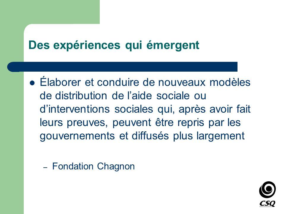 Des expériences qui émergent Élaborer et conduire de nouveaux modèles de distribution de laide sociale ou dinterventions sociales qui, après avoir fai