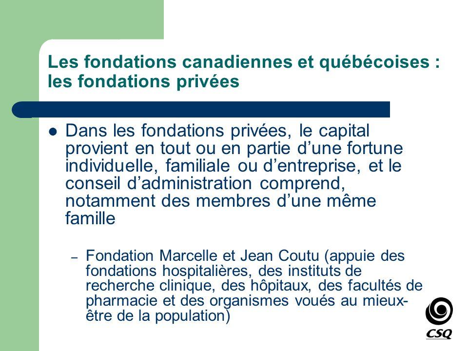 Les fondations canadiennes et québécoises : les fondations privées Dans les fondations privées, le capital provient en tout ou en partie dune fortune