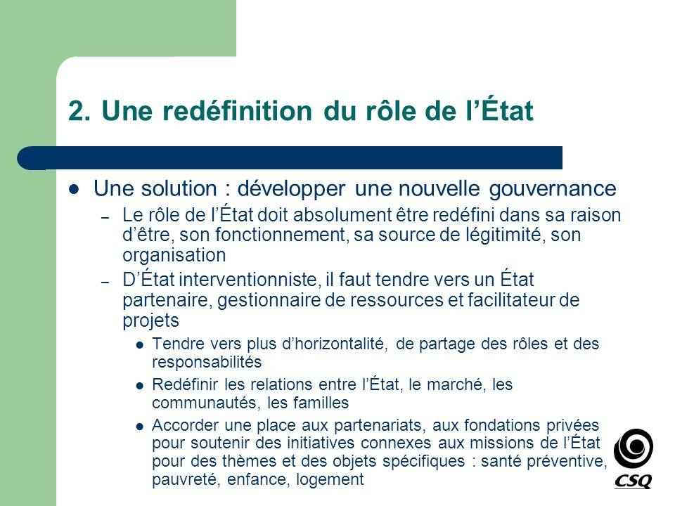 2.Une redéfinition du rôle de lÉtat Une solution : développer une nouvelle gouvernance – Le rôle de lÉtat doit absolument être redéfini dans sa raison