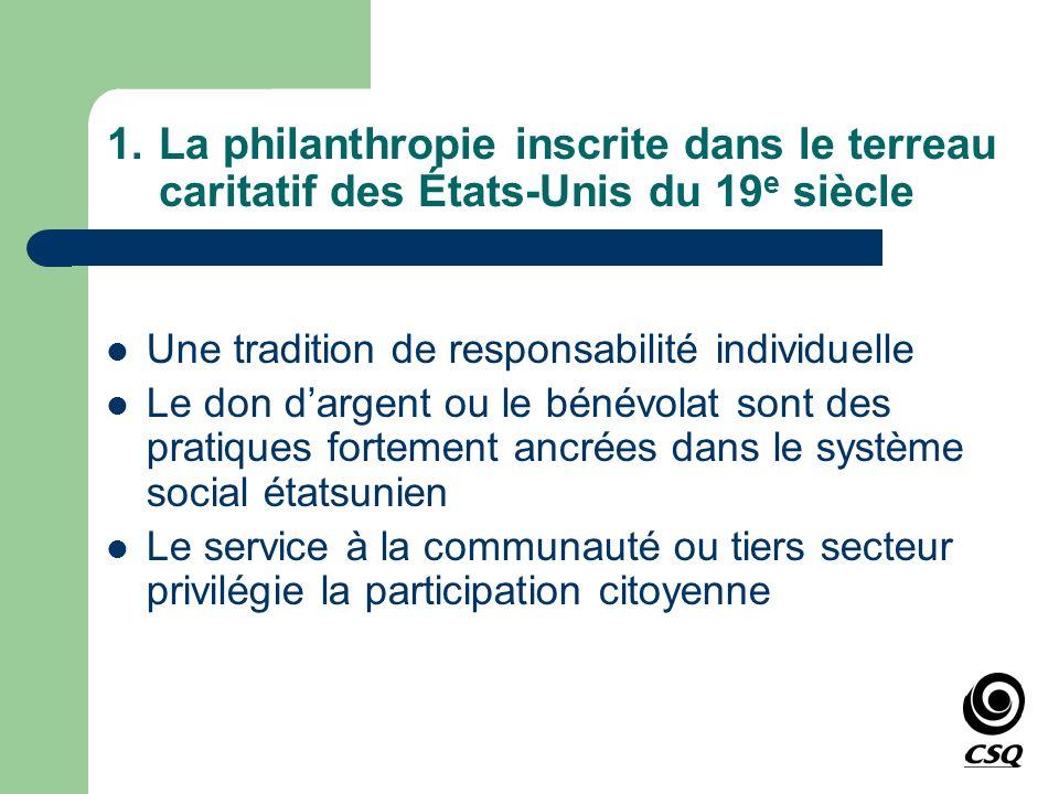 1.La philanthropie inscrite dans le terreau caritatif des États-Unis du 19 e siècle Une tradition de responsabilité individuelle Le don dargent ou le