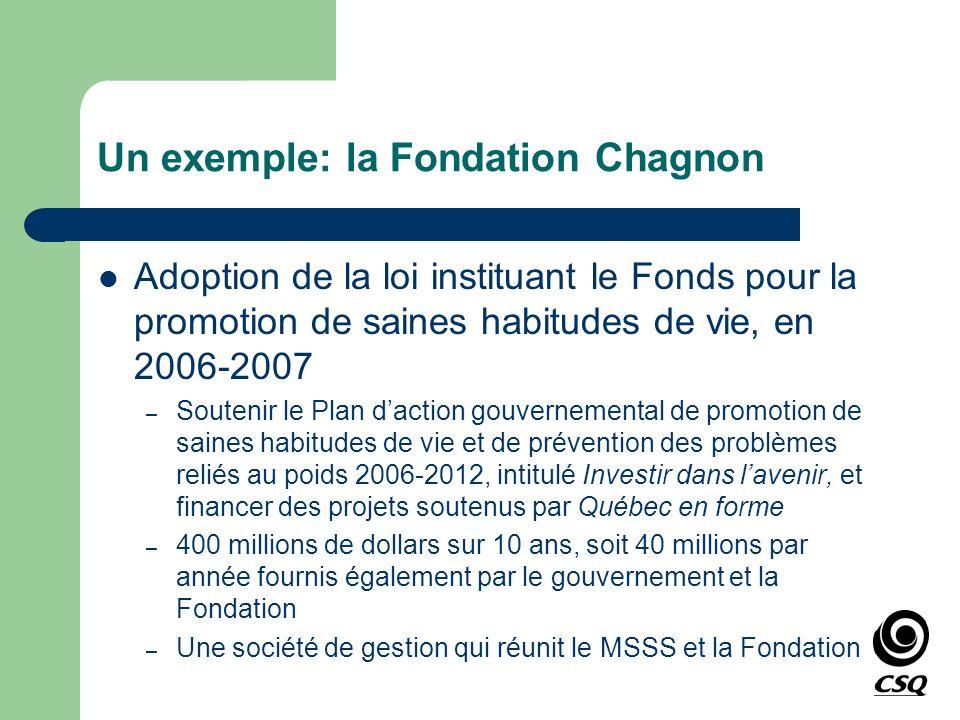 Un exemple: la Fondation Chagnon Adoption de la loi instituant le Fonds pour la promotion de saines habitudes de vie, en 2006-2007 – Soutenir le Plan