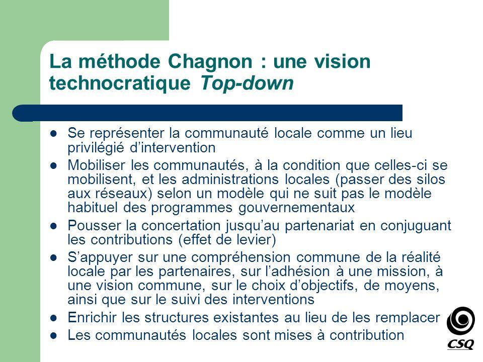 La méthode Chagnon : une vision technocratique Top-down Se représenter la communauté locale comme un lieu privilégié dintervention Mobiliser les commu