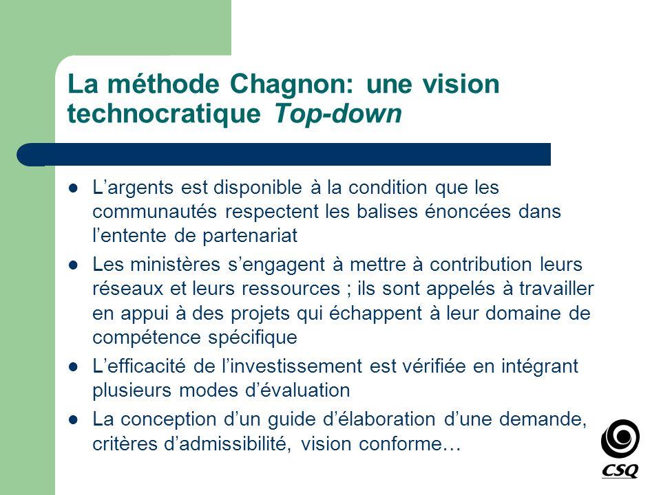 La méthode Chagnon: une vision technocratique Top-down Largents est disponible à la condition que les communautés respectent les balises énoncées dans