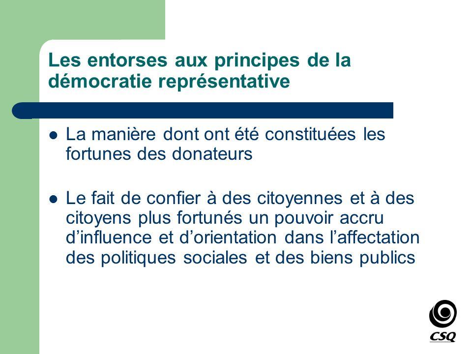 Les entorses aux principes de la démocratie représentative La manière dont ont été constituées les fortunes des donateurs Le fait de confier à des cit