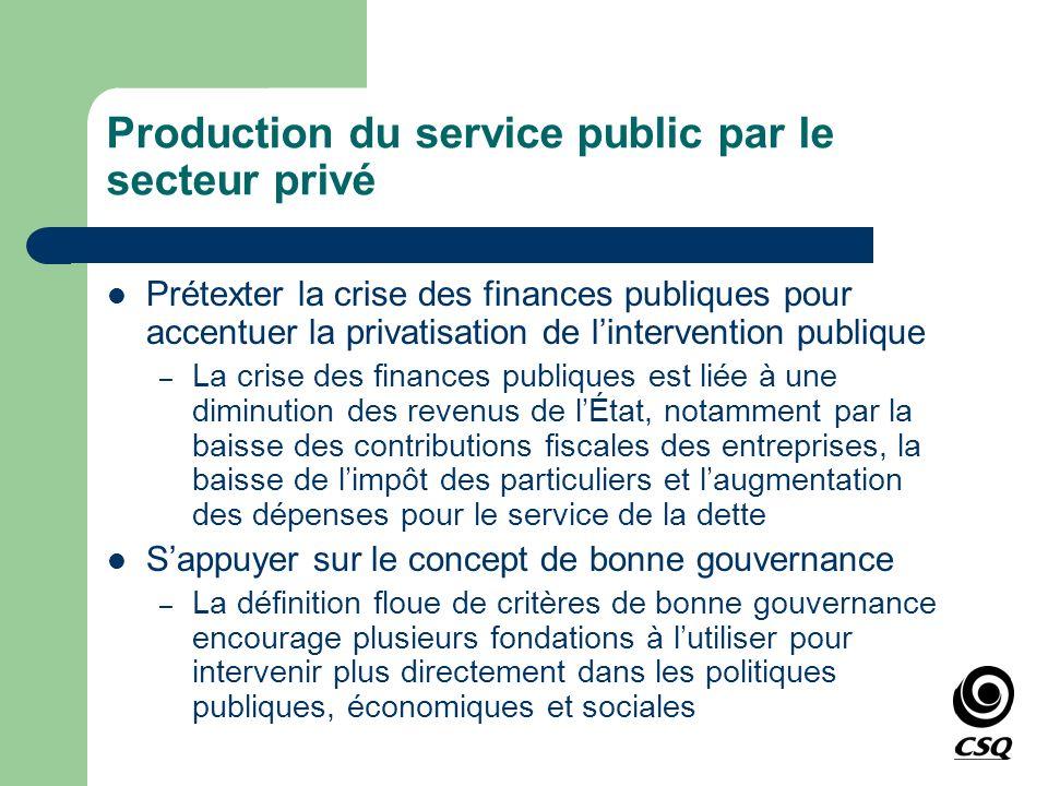 Production du service public par le secteur privé Prétexter la crise des finances publiques pour accentuer la privatisation de lintervention publique
