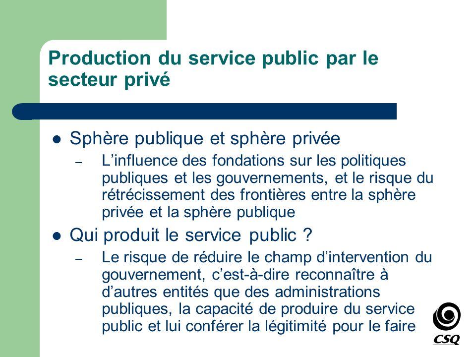 Production du service public par le secteur privé Sphère publique et sphère privée – Linfluence des fondations sur les politiques publiques et les gou