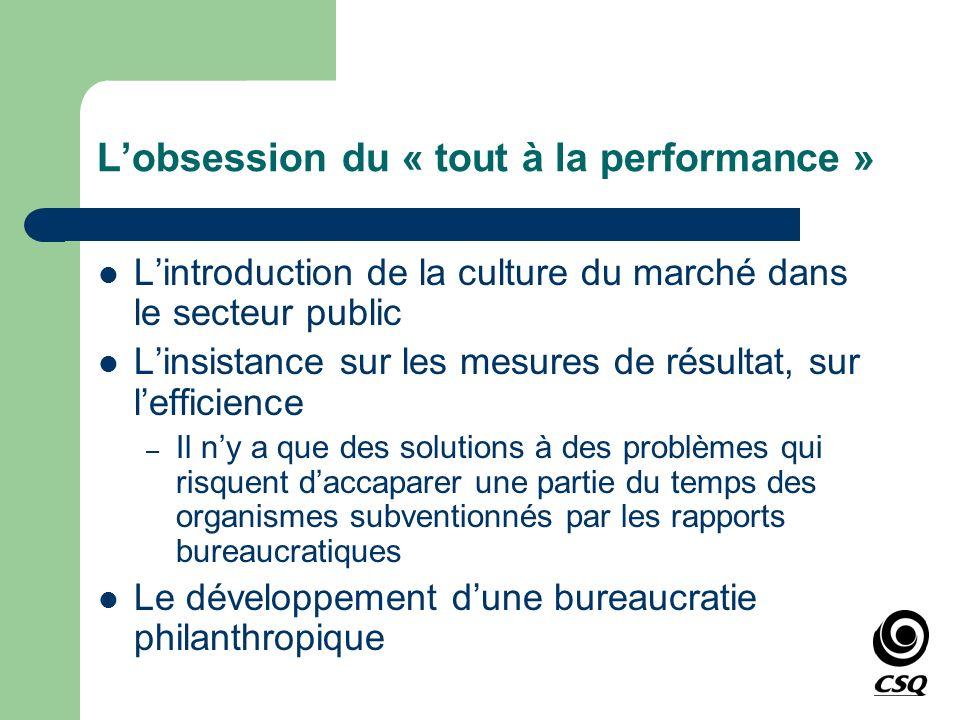 Lobsession du « tout à la performance » Lintroduction de la culture du marché dans le secteur public Linsistance sur les mesures de résultat, sur leff