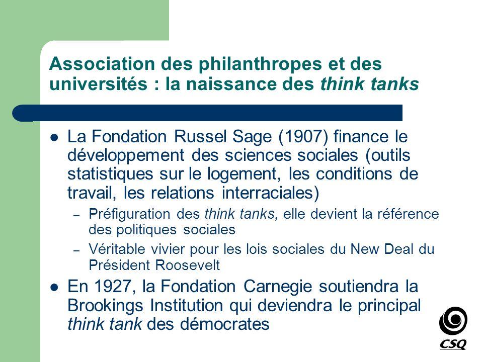 Association des philanthropes et des universités : la naissance des think tanks La Fondation Russel Sage (1907) finance le développement des sciences