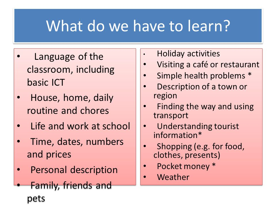 What do we have to learn? Language of the classroom, including basic ICT House, home, daily routine and chores Life and work at school Time, dates, nu