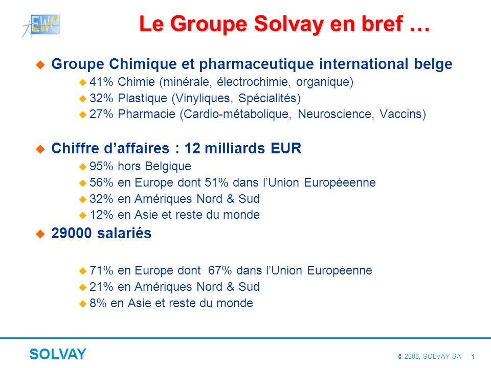 © 2008, SOLVAY SA SOLVAY 1 Le Groupe Solvay en bref … Groupe Chimique et pharmaceutique international belge u 41% Chimie (minérale, électrochimie, organique) u 32% Plastique (Vinyliques, Spécialités) u 27% Pharmacie (Cardio-métabolique, Neuroscience, Vaccins) Chiffre daffaires : 12 milliards EUR u 95% hors Belgique u 56% en Europe dont 51% dans lUnion Européeenne u 32% en Amériques Nord & Sud u 12% en Asie et reste du monde 29000 salariés u 71% en Europe dont 67% dans lUnion Européenne u 21% en Amériques Nord & Sud u 8% en Asie et reste du monde