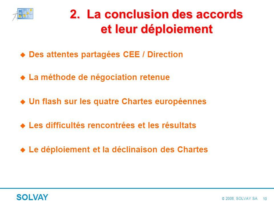 © 2008, SOLVAY SA SOLVAY 9 Des résultats tangibles… Limplication des membres du CEE dans laccompagnement de la stratégie du Groupe la défense de nos a