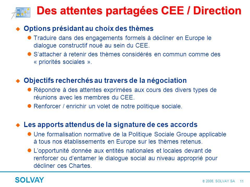 © 2008, SOLVAY SA SOLVAY 10 2. La conclusion des accords et leur déploiement Des attentes partagées CEE / Direction La méthode de négociation retenue