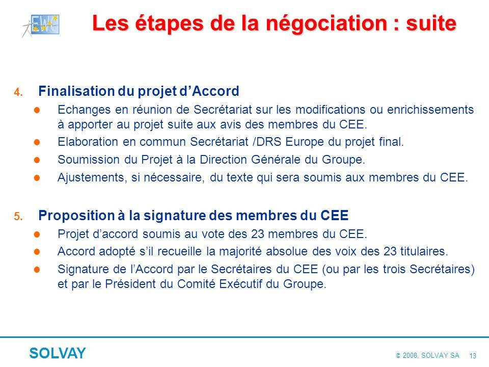 © 2008, SOLVAY SA SOLVAY 12 La méthode de négociation : cinq étapes 1. Le choix des thèmes Échange entre Secrétariat et le DRS Europe. Questions les p