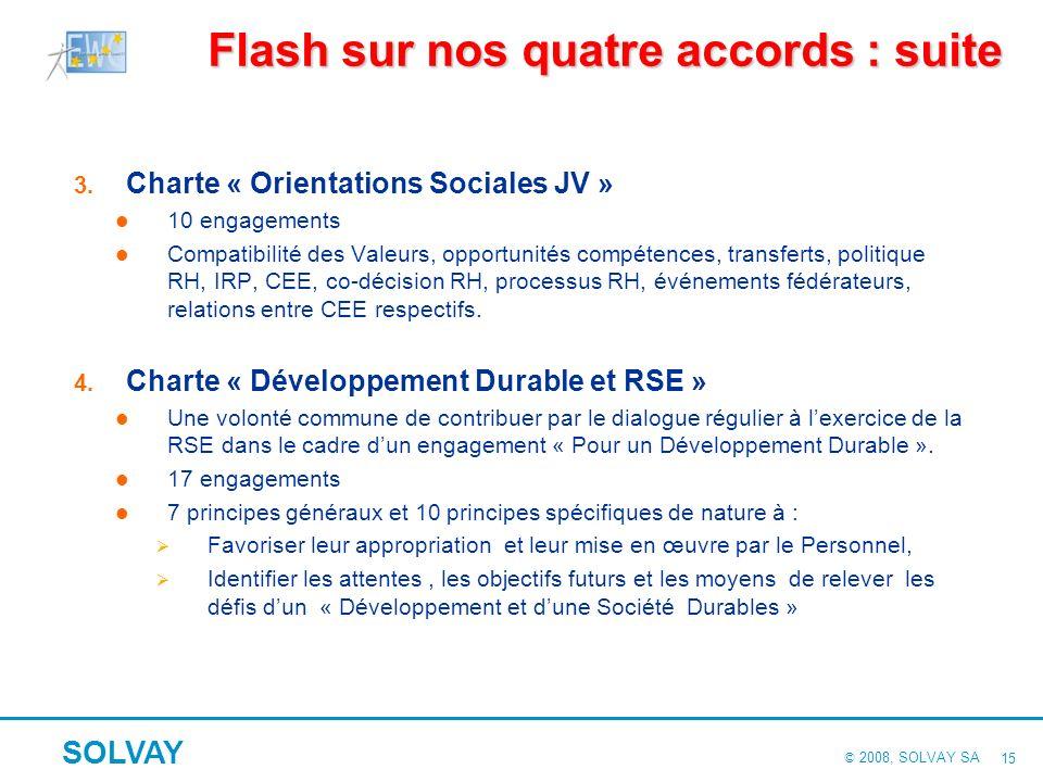 © 2008, SOLVAY SA SOLVAY 14 Flash sur nos quatre Accords européens Contenu commun Des principes généraux compatibles avec les législations et les syst