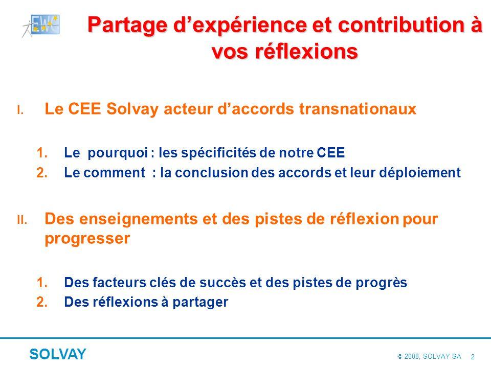 © 2008, SOLVAY SA SOLVAY 22 Facteurs clés de succès liés aux moyens Un mode de fonctionnement du CEE conforme à sa mission Un cadre juridique appliqué avec un minimum de formalisme pour privilégier « lesprit » à la « règle ».