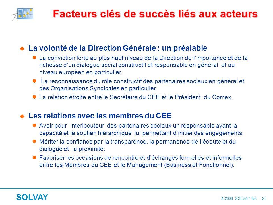 © 2008, SOLVAY SA SOLVAY 20 1. Quelques enseignements de notre expérience Des facteurs clés de succès à entretenir Ceux liés aux acteurs Ceux liés aux