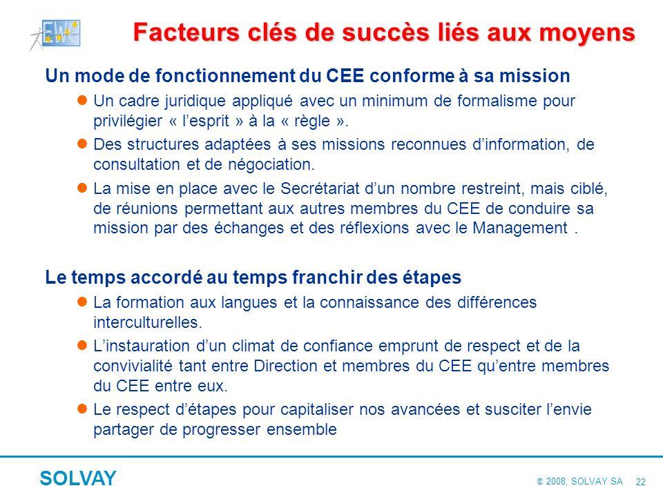 © 2008, SOLVAY SA SOLVAY 21 Facteurs clés de succès liés aux acteurs Facteurs clés de succès liés aux acteurs La volonté de la Direction Générale : un