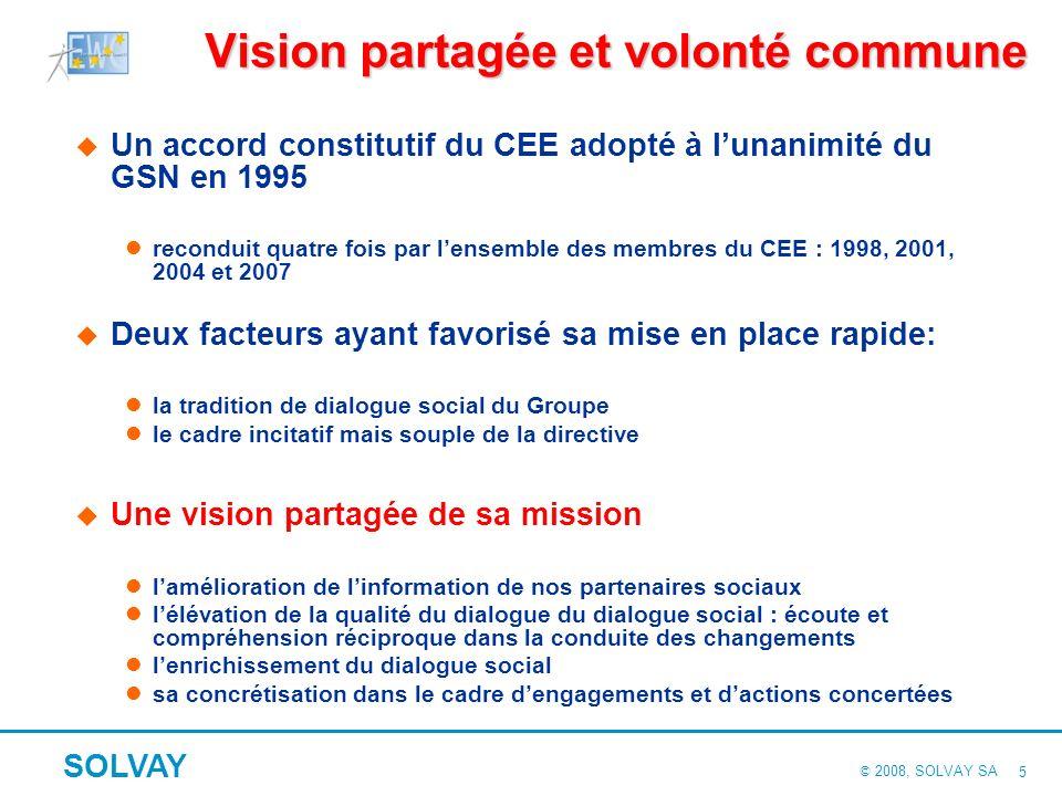 © 2008, SOLVAY SA SOLVAY 5 Vision partagée et volonté commune Un accord constitutif du CEE adopté à lunanimité du GSN en 1995 reconduit quatre fois par lensemble des membres du CEE : 1998, 2001, 2004 et 2007 Deux facteurs ayant favorisé sa mise en place rapide: la tradition de dialogue social du Groupe le cadre incitatif mais souple de la directive Une vision partagée de sa mission lamélioration de linformation de nos partenaires sociaux lélévation de la qualité du dialogue du dialogue social : écoute et compréhension réciproque dans la conduite des changements lenrichissement du dialogue social sa concrétisation dans le cadre dengagements et dactions concertées