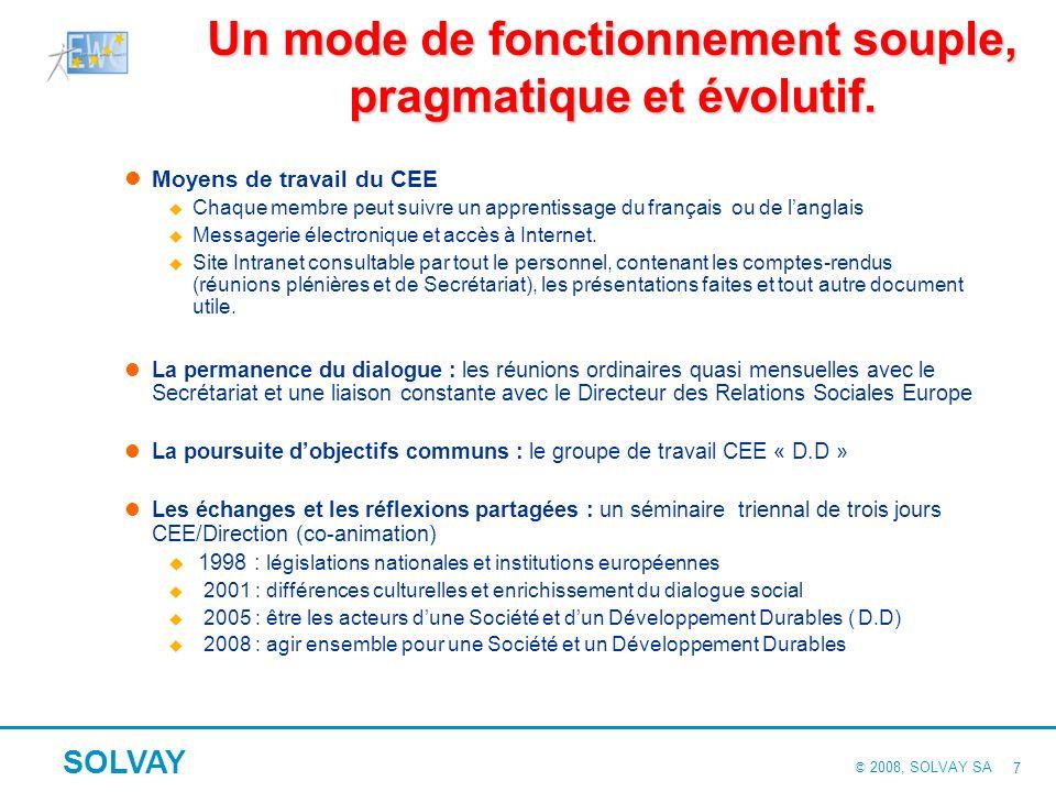 © 2008, SOLVAY SA SOLVAY 17 Difficultés rencontrées et résultats Quasiment aucune difficulté dadoption Unanimité des membres du CEE pour Chartes « Sous-Traitance » et « Santé et Sécurité ».