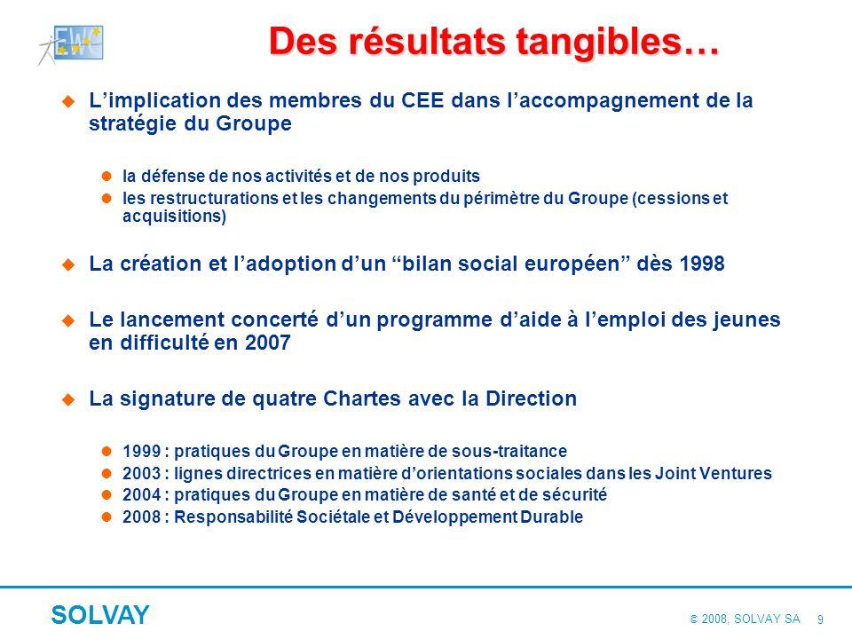 © 2008, SOLVAY SA SOLVAY 8 Des processus adaptés aux trois missions différentes de notre CEE Information : transparence sur la stratégie du Groupe et