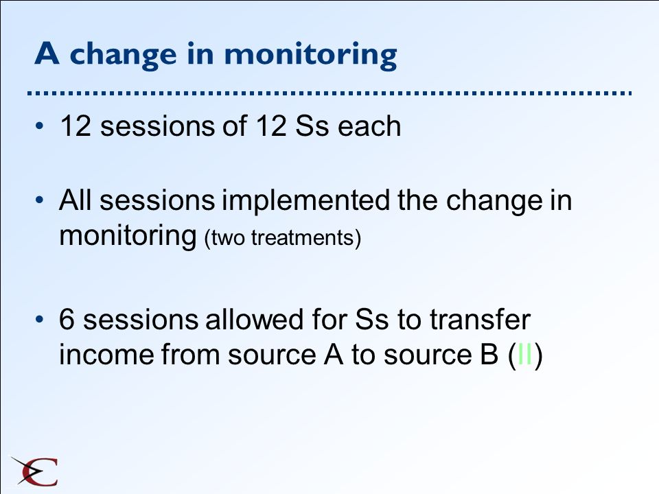 A change in monitoring 12 sessions of 12 Ss each All sessions implemented the change in monitoring (two treatments) 6 sessions allowed for Ss to trans