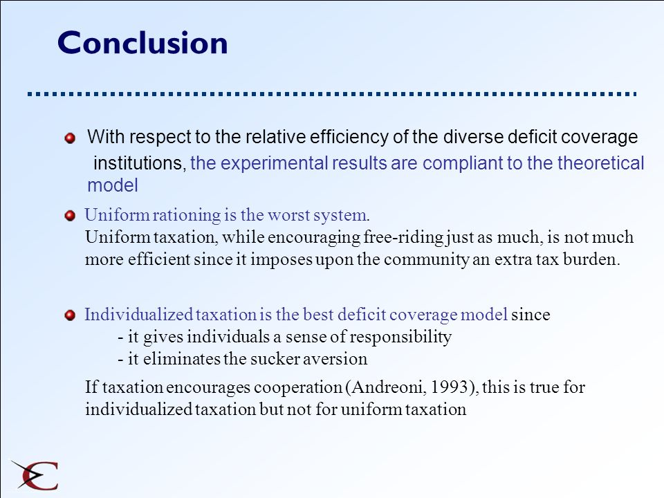 Conclusion With respect to the relative efficiency of the diverse deficit coverage institutions, the experimental results are compliant to the theoret