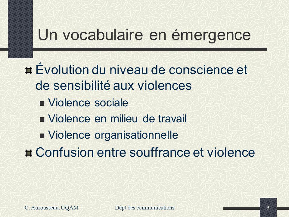 C. Aurousseau, UQÀMDépt des communications3 Un vocabulaire en émergence Évolution du niveau de conscience et de sensibilité aux violences Violence soc