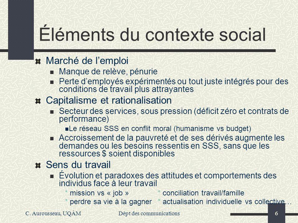 C. Aurousseau, UQÀMDépt des communications6 Éléments du contexte social Marché de lemploi Manque de relève, pénurie Perte demployés expérimentés ou to