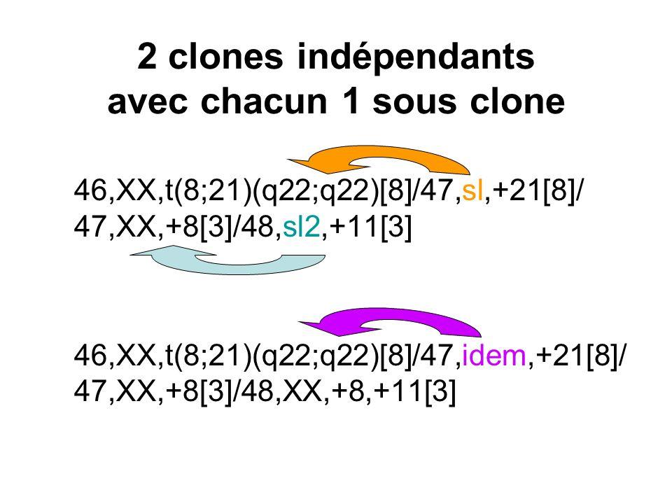 2 clones indépendants avec chacun 1 sous clone 46,XX,t(8;21)(q22;q22)[8]/47,sl,+21[8]/ 47,XX,+8[3]/48,sl2,+11[3] 46,XX,t(8;21)(q22;q22)[8]/47,idem,+21